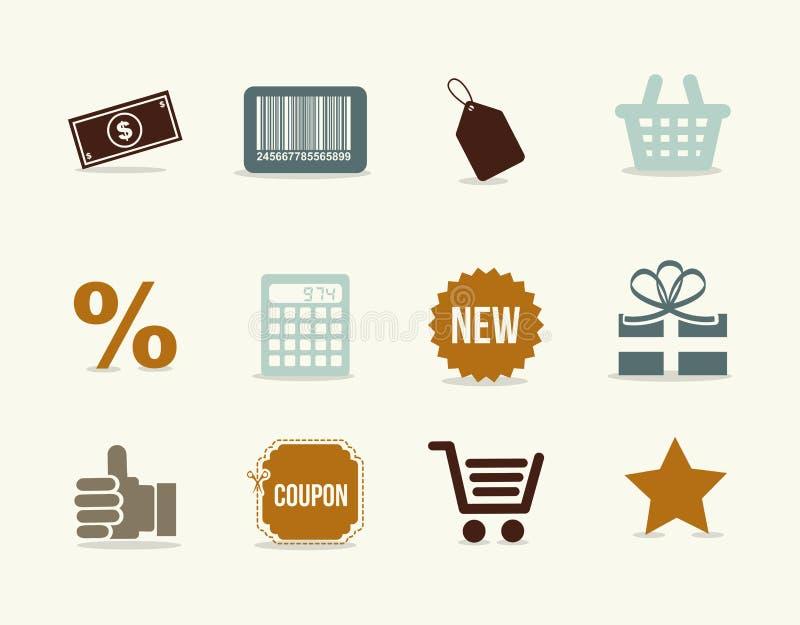 Значки Shoping иллюстрация вектора
