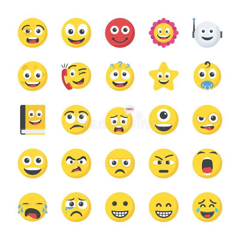 Значки Smiley плоские иллюстрация вектора