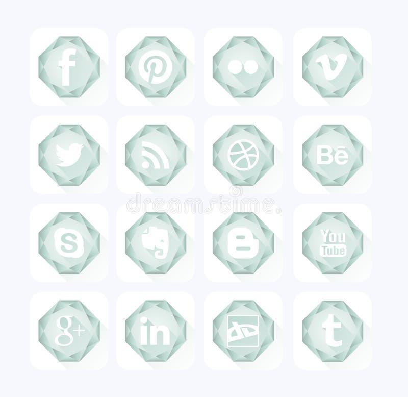 Значки Social диаманта Плоский стиль дизайна стоковые изображения rf