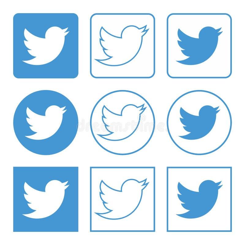 Значки Twitter установили голубой иллюстрация штока