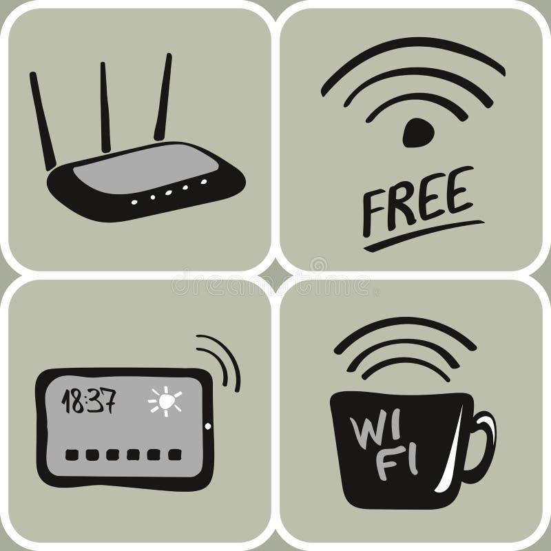 Значки wifi вектора нарисованные рукой иллюстрация штока