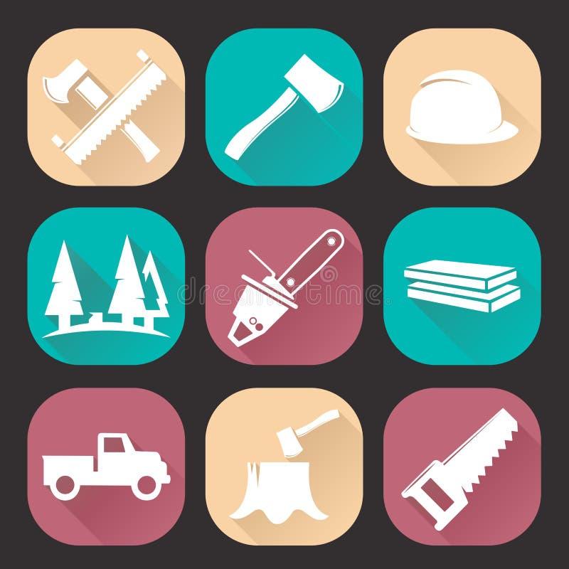 Значки woodcutter Lumberjack установили изолированный на темной предпосылке Плоский ультрамодный дизайн иллюстрация штока