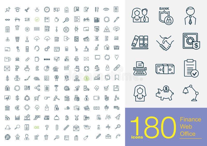 180 значков бизнес-линии иллюстрация вектора