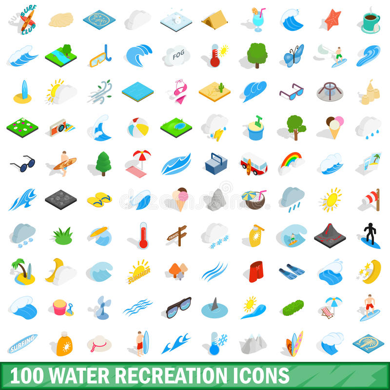 100 значков воссоздания воды установили, равновеликий стиль 3d иллюстрация вектора