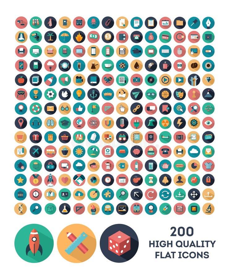 200 значков высококачественного вектора плоских иллюстрация вектора