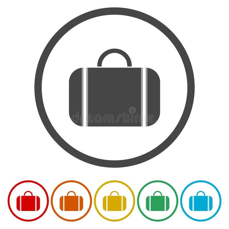 Значков круга вектора дизайна сумки набор плоских современных красочный для сети иллюстрация штока