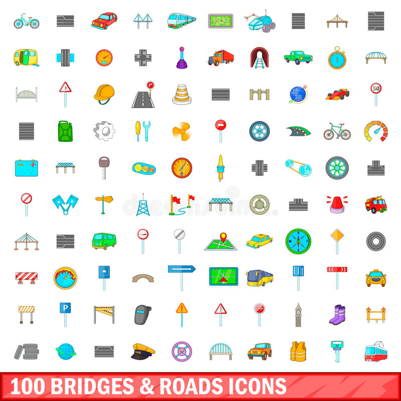 100 значков мостов и дорог установили, стиль шаржа иллюстрация штока