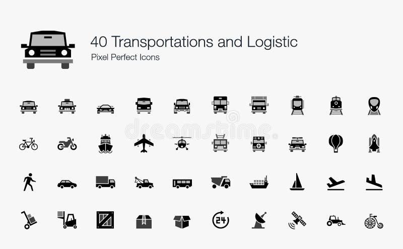 40 значков логистического пиксела транспортов совершенных иллюстрация вектора