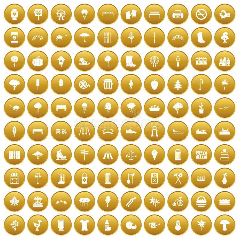 100 значков парка установили золото иллюстрация вектора