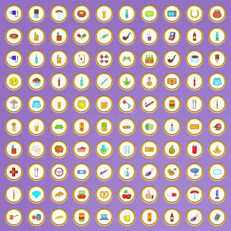 100 значков плох привычек установленных в стиль шаржа иллюстрация вектора