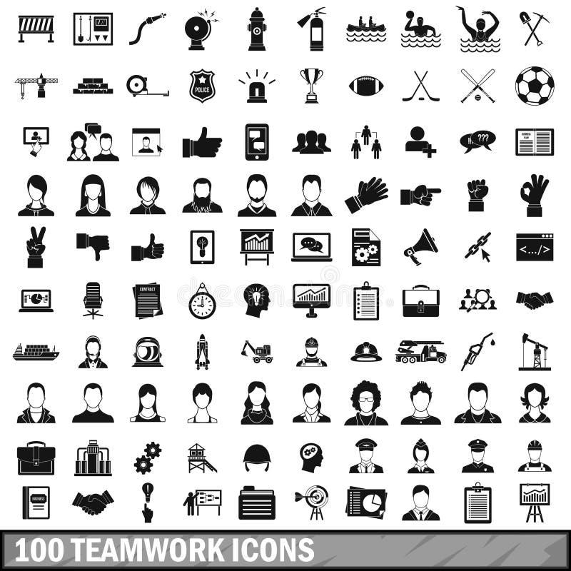 100 значков работы команды установленных в простой стиль иллюстрация вектора