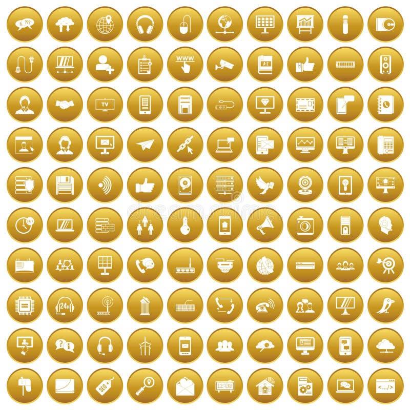 100 значков связи установили золото иллюстрация штока