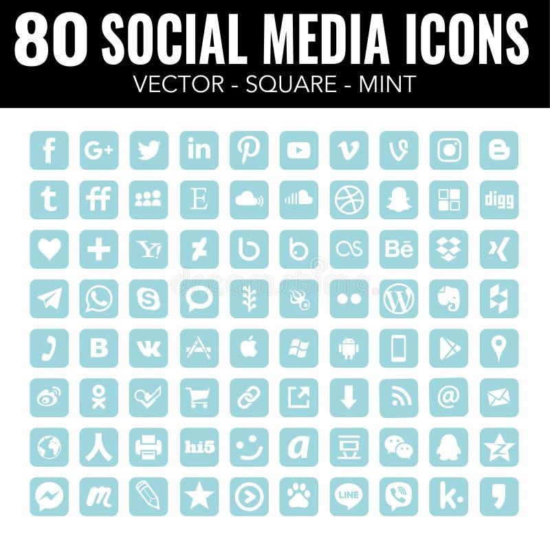 Значков средств массовой информации квадрата мяты сини набор социальных профессиональный - вектор с округленными углами бесплатная иллюстрация