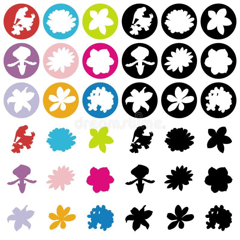 9 значков цветков плоских иллюстрация штока