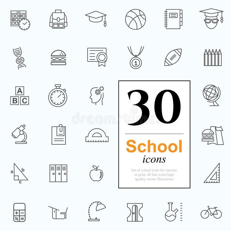 30 значков школы иллюстрация штока