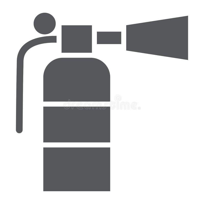 Значок, аварийная ситуация и пожаротушение глифа огнетушителя, тушат знак, векторные графики, твердую картину на белом иллюстрация вектора