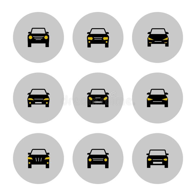 Значок автомобилей вид спереди с желтыми светами иллюстрация штока