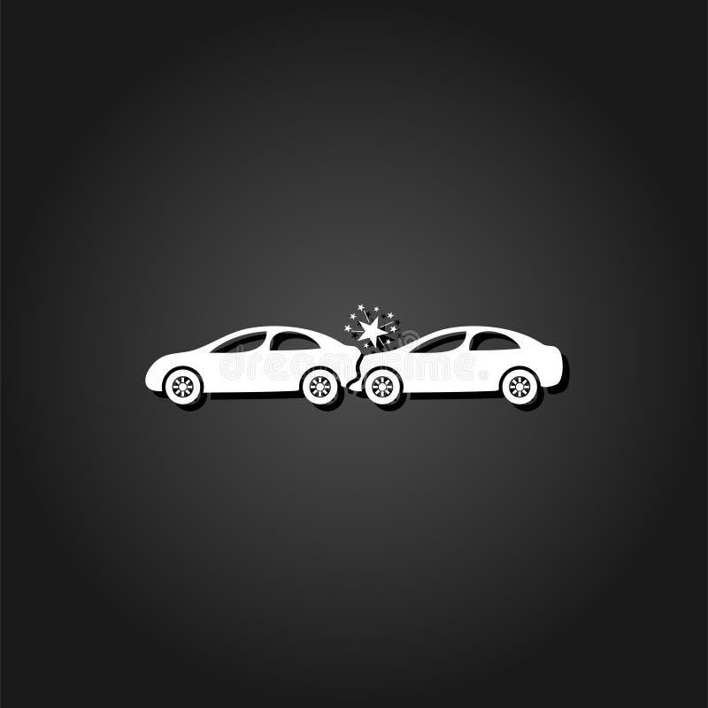 Значок автомобильной катастрофы плоский иллюстрация штока