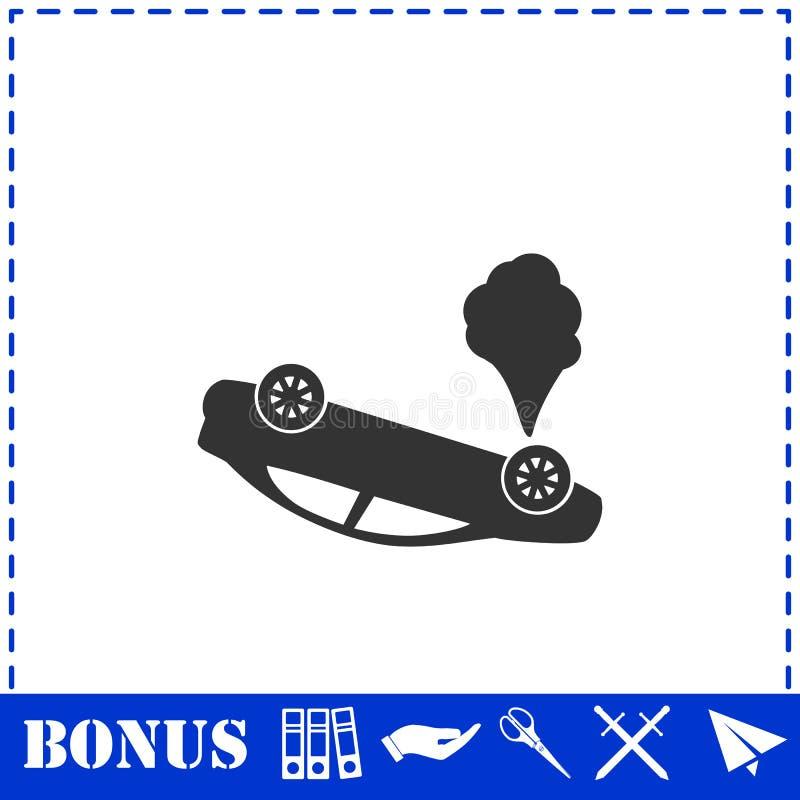 Значок автомобиля аварии плоско иллюстрация вектора