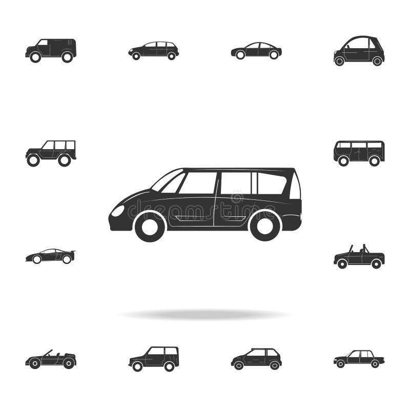 Значок автомобиля минифургона большой Детальный комплект значков автомобилей Наградной графический дизайн Один из значков собрани иллюстрация вектора