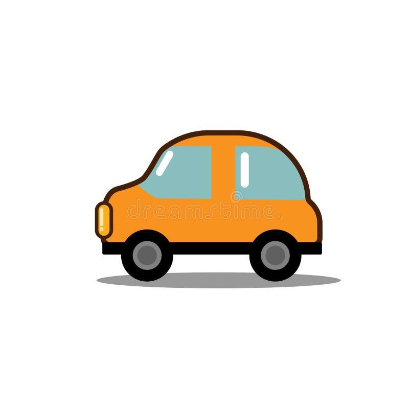 Значок автомобиля плоский, яркая концепция корабля шаржа для плаката, знамени, логотипа, вебсайта Значок пассажирского автомобиля иллюстрация штока