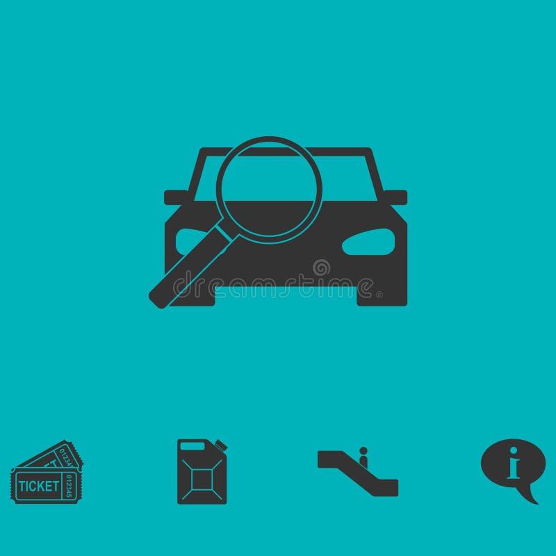 Значок автомобиля увеличителя плоско иллюстрация вектора