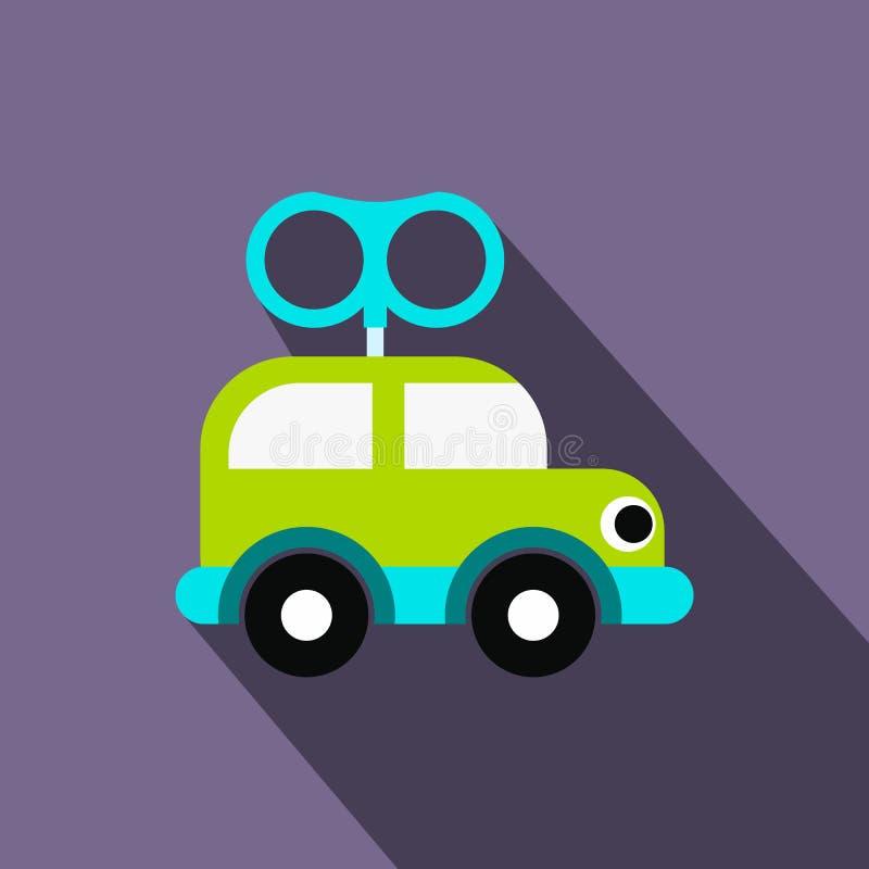 Значок автомобиля игрушки Clockwork плоский бесплатная иллюстрация
