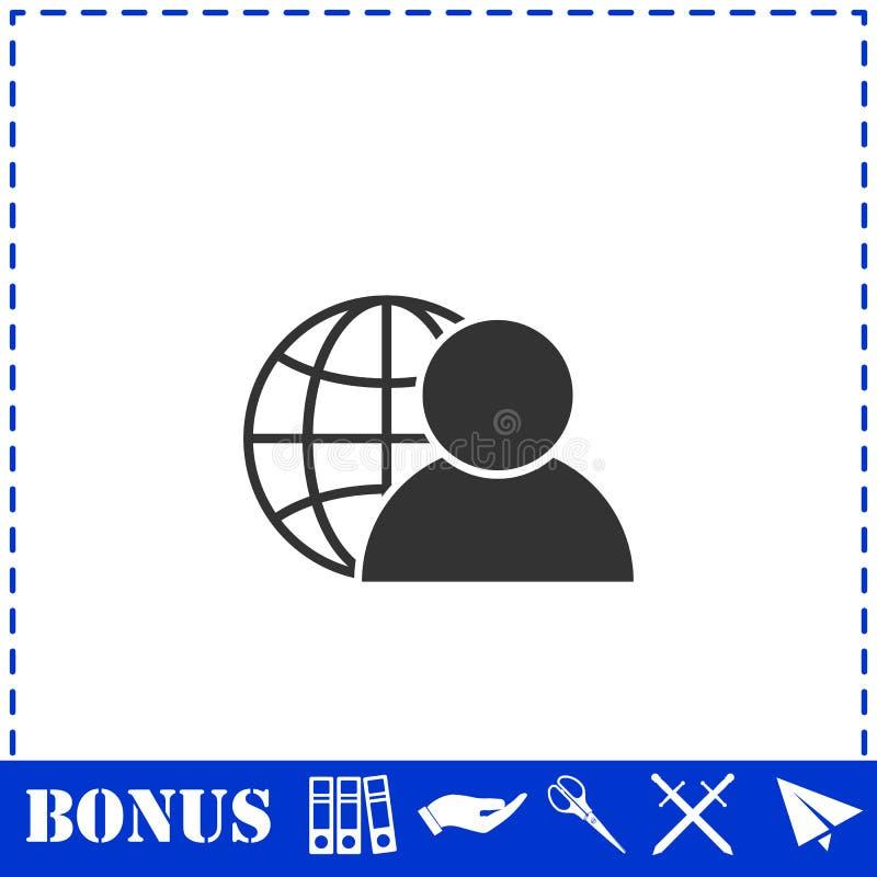 Значок администратора сети плоско иллюстрация штока