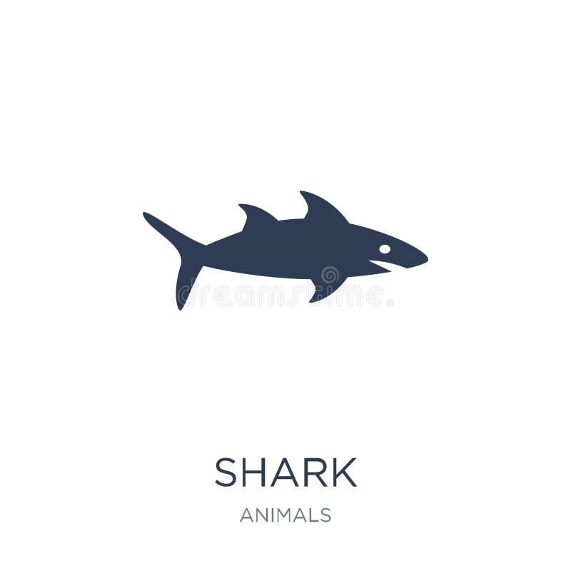 Значок акулы Ультрамодный плоский значок акулы вектора на белой предпосылке fr иллюстрация вектора