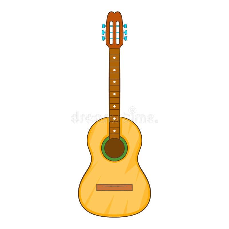Значок акустической гитары, стиль шаржа бесплатная иллюстрация