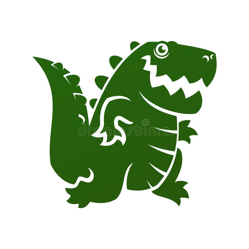 Значок аллигатора или динозавра отрезанный силуэтом вне иллюстрация вектора