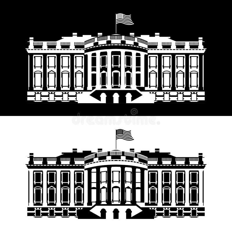 Значок Америки Белого Дома черно-белый Резиденция президента иллюстрация вектора