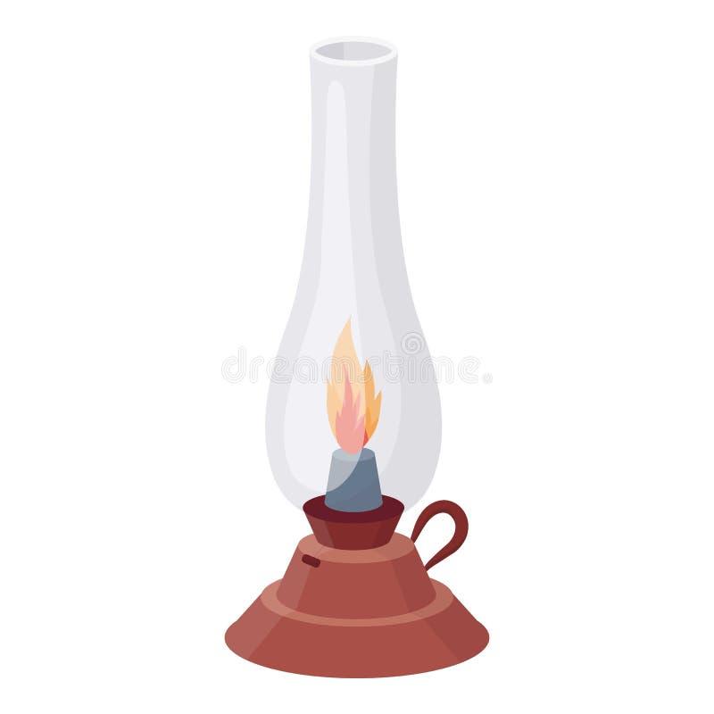 Значок лампы керосина в стиле шаржа изолированный на белой предпосылке Иллюстрация вектора запаса символа источника света бесплатная иллюстрация