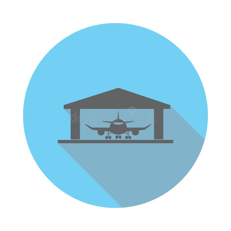 Значок ангара воздушных судн Элементы авиапорта в плоско сини покрасили значок Наградной качественный значок графического дизайна бесплатная иллюстрация