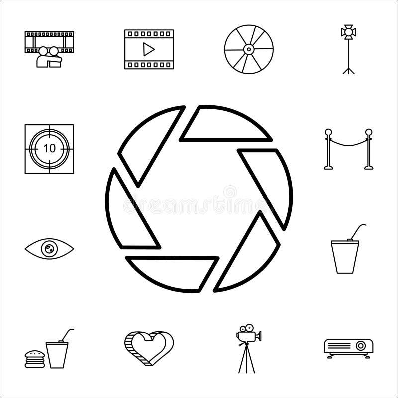 Значок апертуры Комплект значков кино всеобщий для сети и черни бесплатная иллюстрация