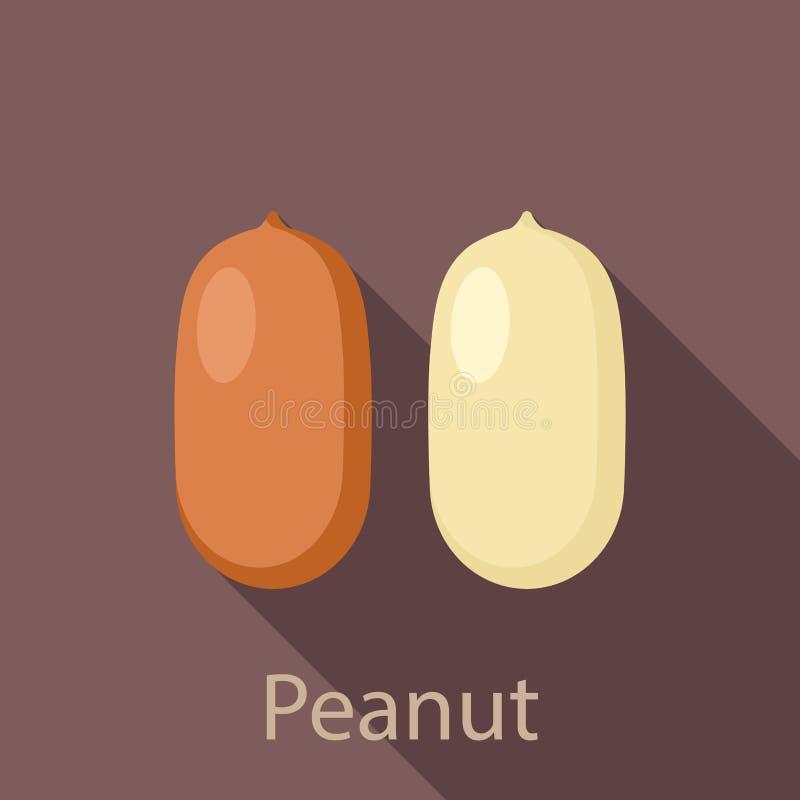 Значок арахиса, плоский стиль иллюстрация вектора