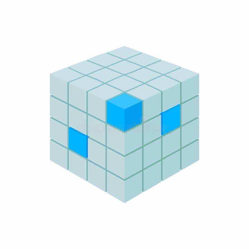 Значок базы данных куба, стиль шаржа иллюстрация вектора
