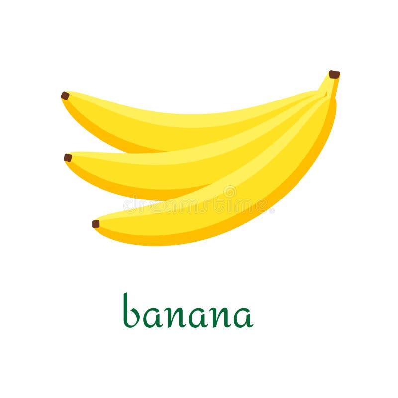 Значок банана в плоском стиле изолированный на белой предпосылке иллюстрация штока