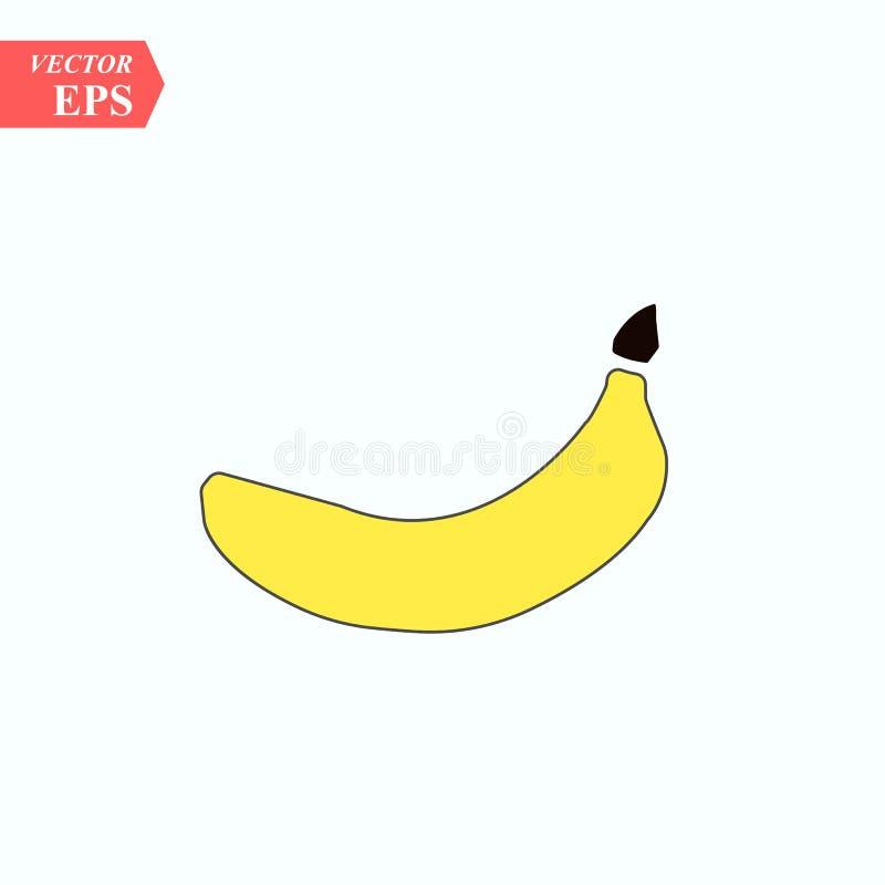 Значок банана также вектор иллюстрации притяжки corel Плоский дизайн 10 eps иллюстрация вектора