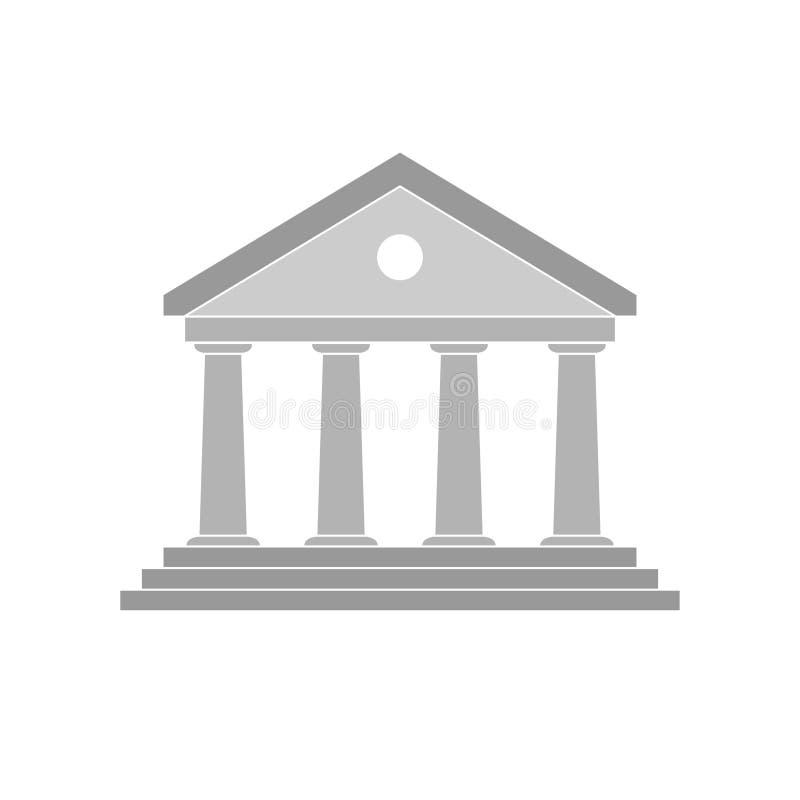 Значок банка здания серого цвета иллюстрация штока