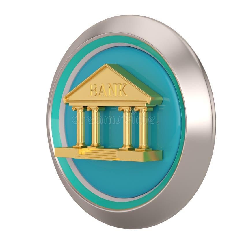 Значок банка золота изолированный на белой иллюстрации предпосылки 3D иллюстрация штока