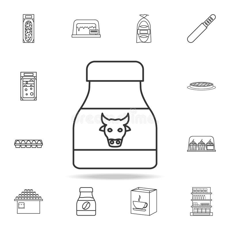 Значок банка молока Детальный комплект магазинов и значков гипермаркета Наградной качественный графический дизайн Один из значков бесплатная иллюстрация