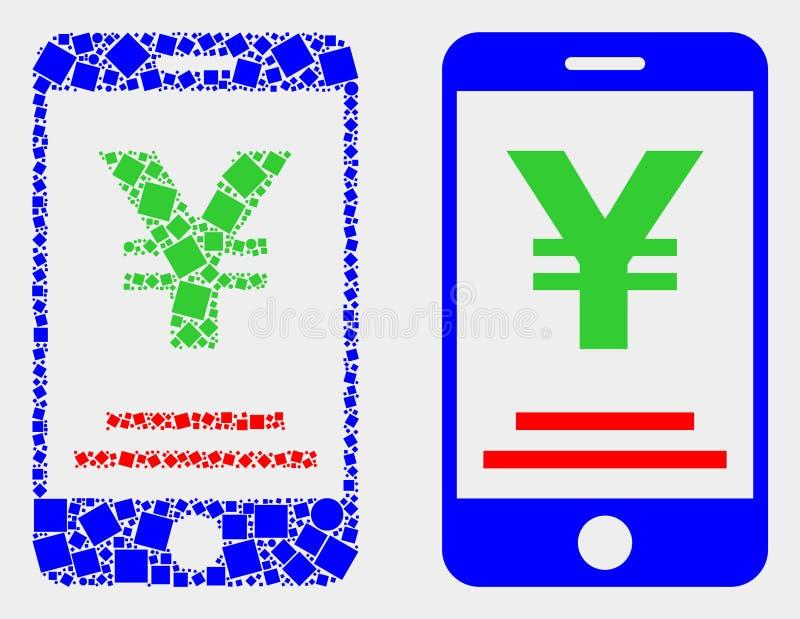Значок банка поставленных точки и плоских иен вектора мобильный бесплатная иллюстрация