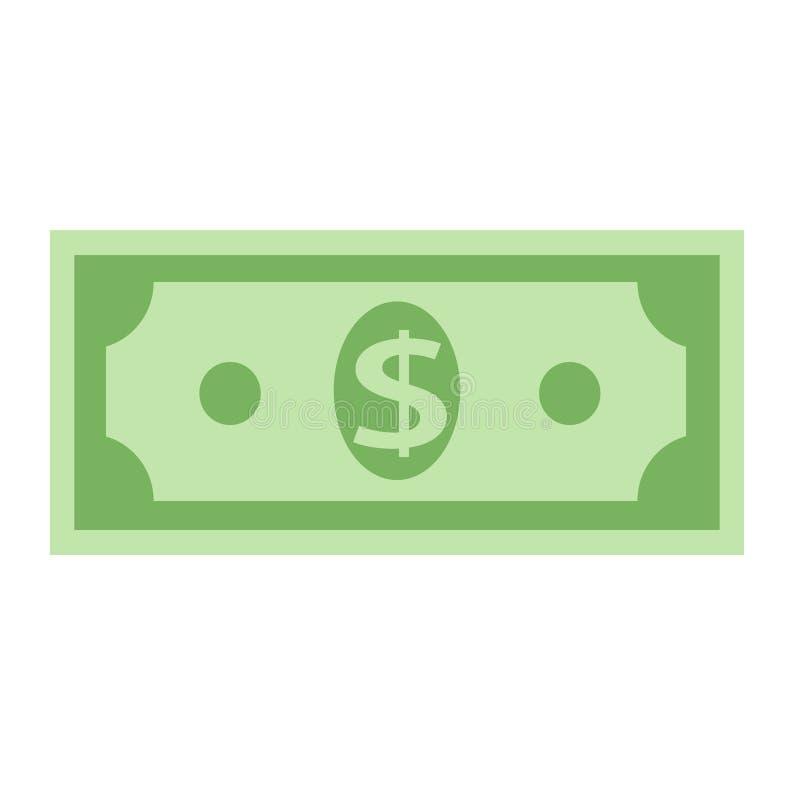 Значок банкноты валюты доллара, иллюстрация вектора запаса иллюстрация вектора