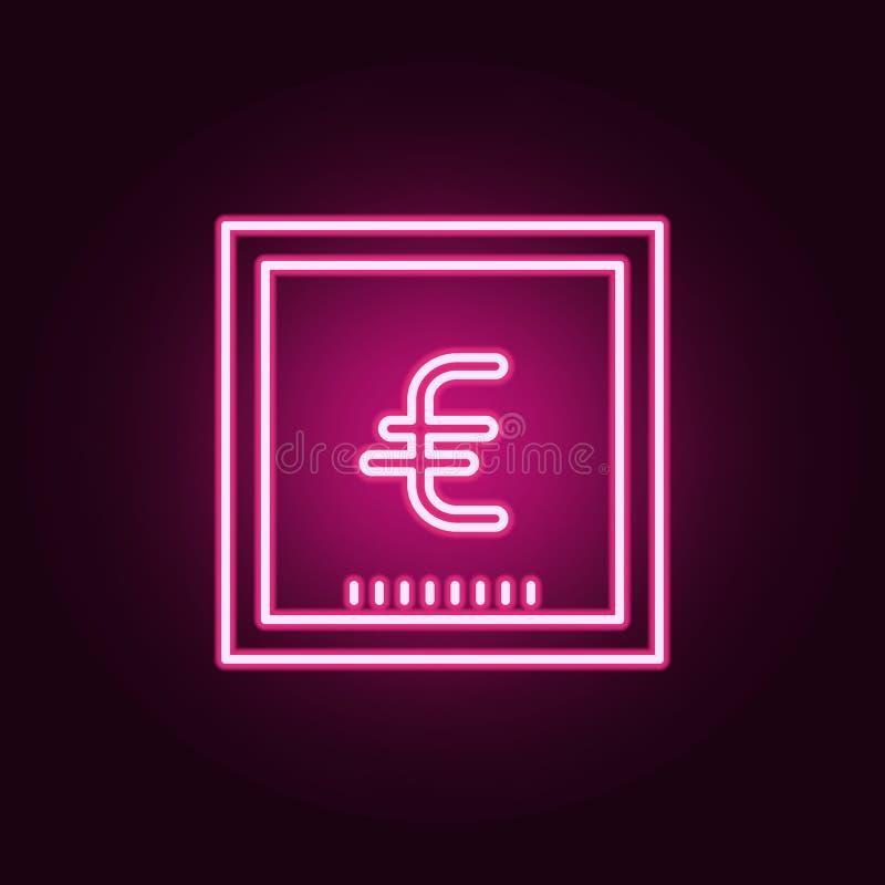 значок банкноты евро неоновый Элементы набора банка Простой значок для вебсайтов, веб-дизайн, мобильное приложение, графики инфор бесплатная иллюстрация