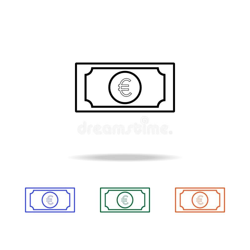 значок банкноты евро Элементы простого значка сети в multi цвете Наградной качественный значок графического дизайна Простой значо иллюстрация штока