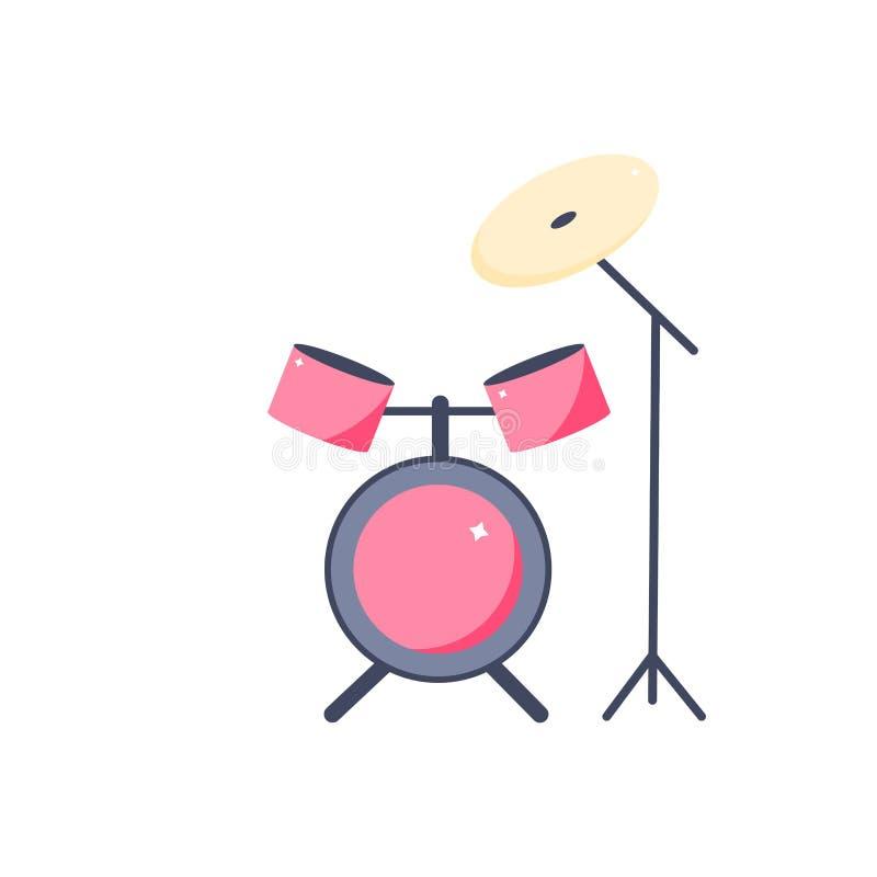 Значок барабанчика в стиле мультфильма аппаратура музыки бесплатная иллюстрация