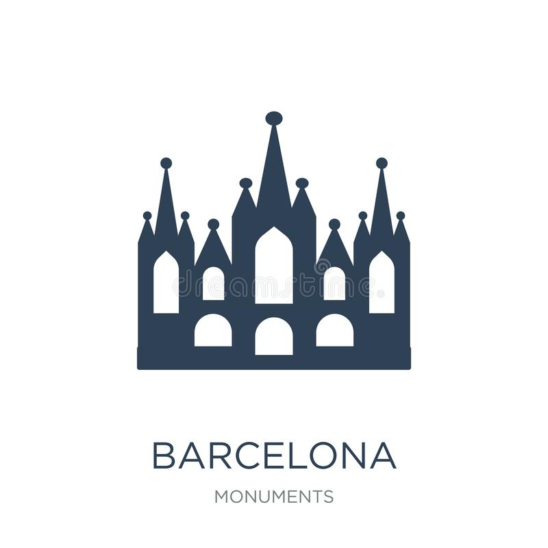 значок Барселоны в ультрамодном стиле дизайна значок Барселоны изолированный на белой предпосылке квартира значка вектора Барсело бесплатная иллюстрация