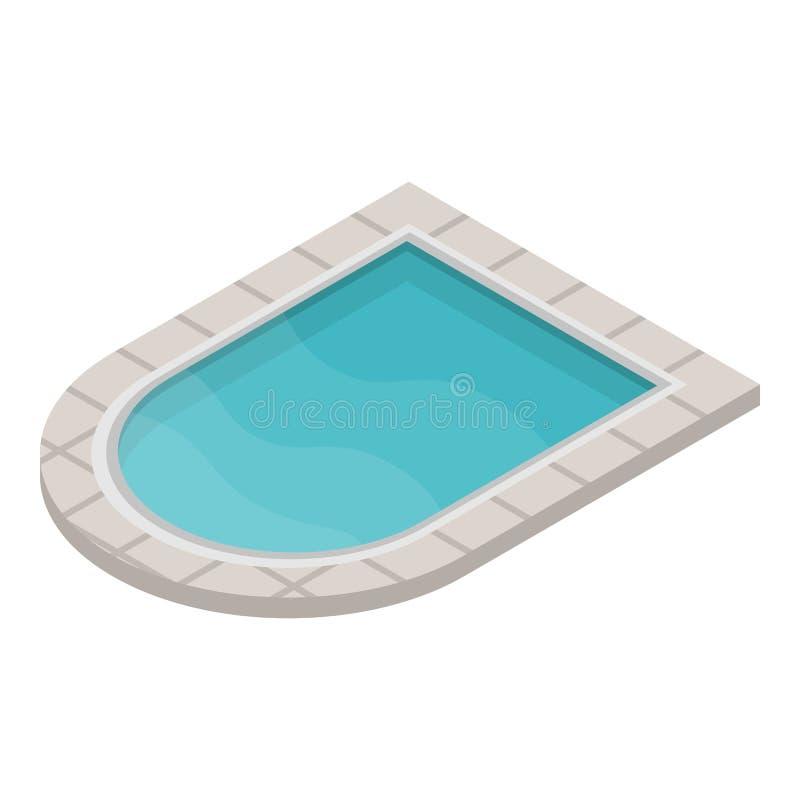 Значок бассейна ребенк, равновеликий стиль иллюстрация вектора