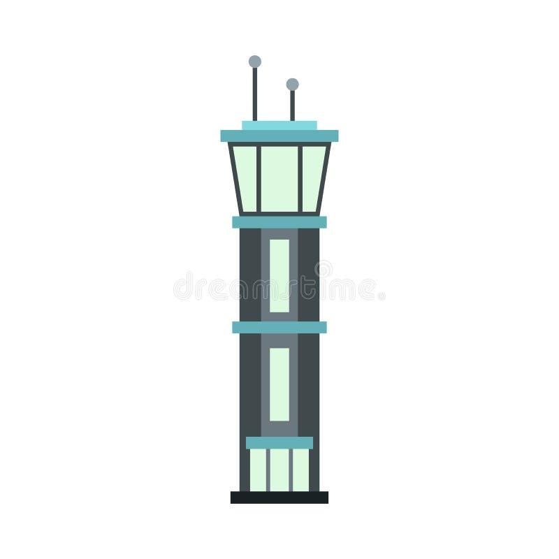 Значок башни авиапорта, плоский стиль иллюстрация вектора